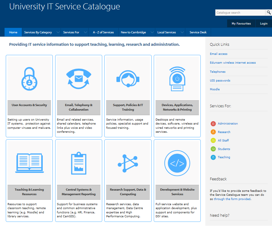 UIS Catalogue - home page