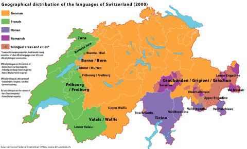 Map showing distribution of Swiss languages (Wikimedia Commons)